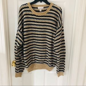 Vintage oversized chunky knit brown sweater